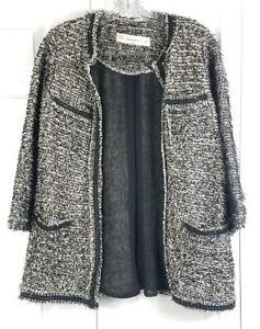 ZARA-KNIT-womens-size-M-black-white-shaggy-tweed-open-front-cotton-career-blazer