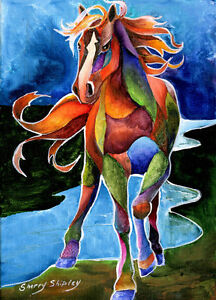 RIVER-DANCE-1-Horse-Original-5x7-Acrylic-Framed-Painting-by-Sherry-Shipley