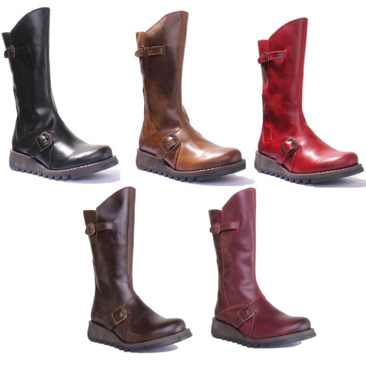 Fly London Mes 2 Women Brown Leather Matt Long Boots UK Size 3 - 8