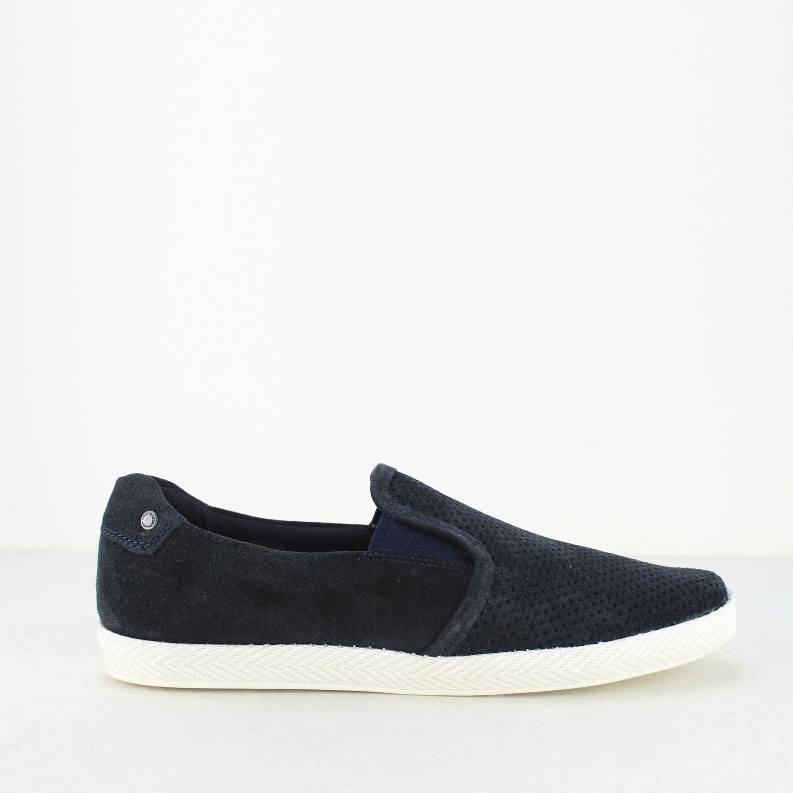 Base London CLIPPER Mens Suede Slip On Retro Casual Trainer Pumps shoes Navy