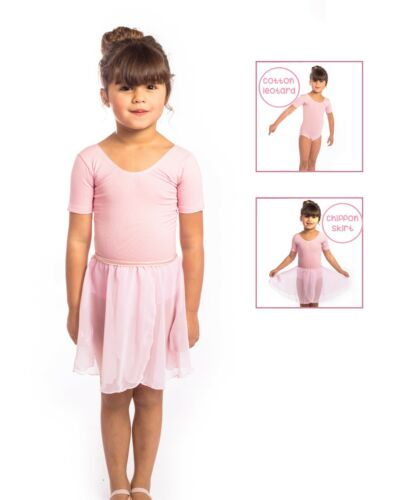 Girls Pink Cotton Short Sleeved Leotard /& Chiffon Skirt Leotard /& Skirt SET