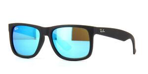 Ray-Ban-Sunglasses-Justin-4165-622-2V-Black-Blue-Polarized-Large-55mm