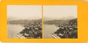 Francia Menton Vista Generale, Foto Stereo Vintage Analogica PL62L10