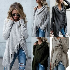 Womens-Knitted-Long-Sleeve-Jumper-Sweater-Cardigan-Ladies-Fringe-Shawl-Tops-Coat