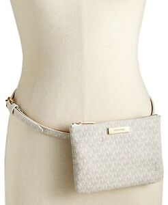 144a9b0d2c13 Image is loading Michael-Michael-Kors-Signature-Fanny-Pack-White-Gold-
