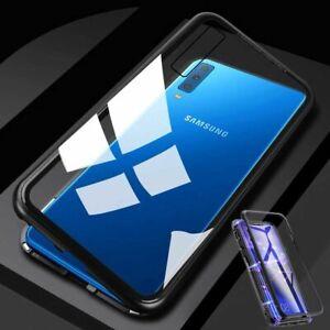 Pour-Samsung-Galaxy-A50-6-4-AIMANT-Metal-Verre-Transparent-Noir-Housse-Etui