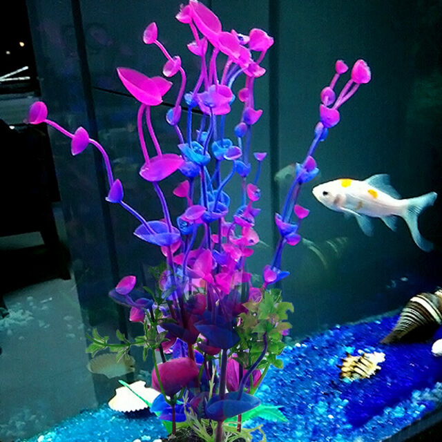 New Artificial Aquarium Decor Purple Plastic Grass Water Plant Fish Tank