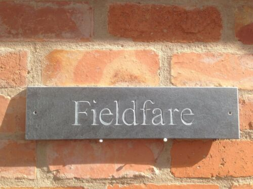 Personalised natural riven Slate House Sign 400mm x 100mm Any Name Number
