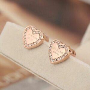 6cc1fdbb9 Image is loading Michael-Kors-Rose-Gold-Tone-Heart-Crystal-Earrings