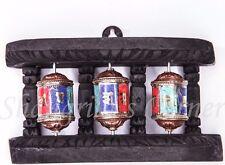 Handmade 3-in-1 Prayer Wheel WOODEN Stand Desk Wall Mount Gem Paste Inlay