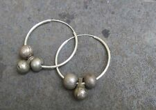 3GLATT KUGEL CREOLEN antik jüdisch jemenitsch Silber Ohrringe Unikat älter 1948