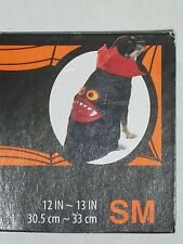 """Dog Vampire Satin Cape Pet Halloween Costume Black Red Fangs Size Small 12"""" -13"""""""