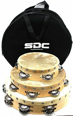 SET 10 8 6 INCH WOODEN CHURCH PARTY TAMBOURINES WITH HEAD