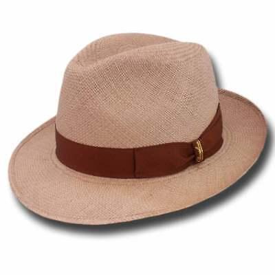 Borsalino Cappello 140228 Fedora Panama Quito 6 Cm Sabbia Scura