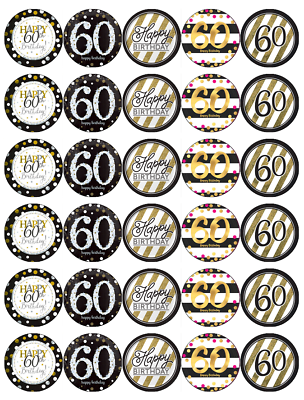 EDIBLE ICING SHEET 24 x 60TH HAPPY BIRTHDAY BLACK /& GOLD CUPCAKE TOPPERS 8411