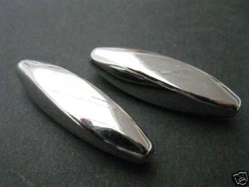 2 perles Acrylique lisse brillant 37x10mm perles NEUF 4716