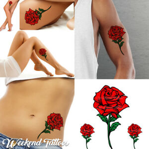 Red Roses Flower Temporary Tattoos Stickers Body Art Rose Vintage