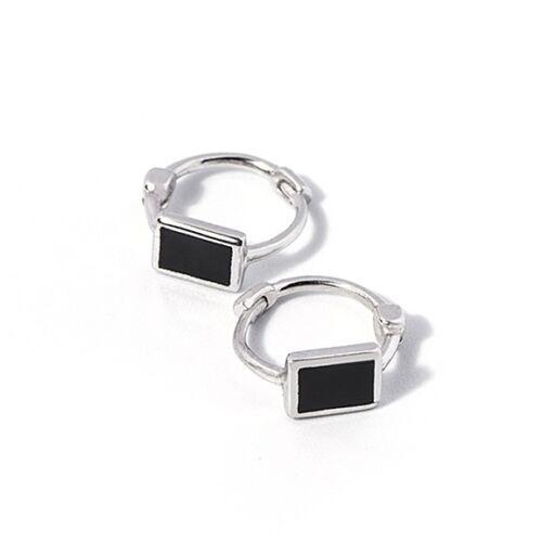Sterling Silver Black Enamel Cuboid Square Hinged Huggie Hoop Earrings