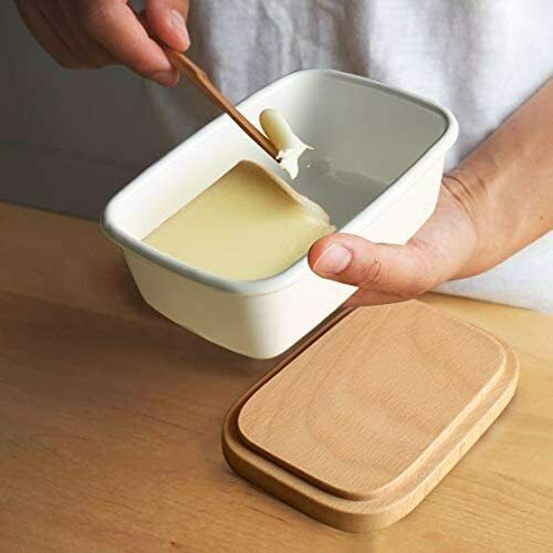 Enamel Butter Dish Box Wooden Lids Deep Storage Tray Kitchen Storage Containers