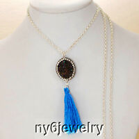Long, Silver Tone Chain Necklace W/drusy Agate & Blue Tassel Pendant 32