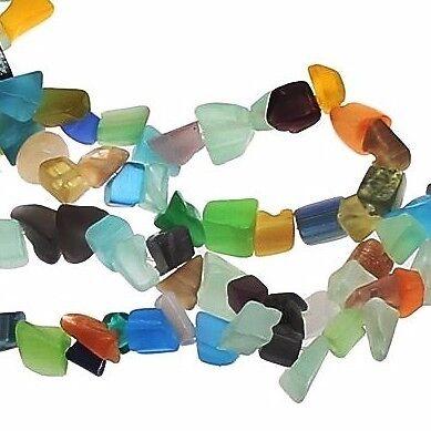 100 Katzenauge Perlen Halbedelsteine Chips Splitter 8 mm Bunt Perlenkette D85