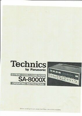 Billiger Preis Technics By Panasonic Bedienungsanleitung User Manual Für Sa-8000x Englisch Copy üBerlegene Leistung