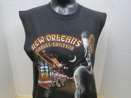 RN00441 Men's Harley-Davidson NOLA Exquisite Sleeveless Black Cotton T-Shirt