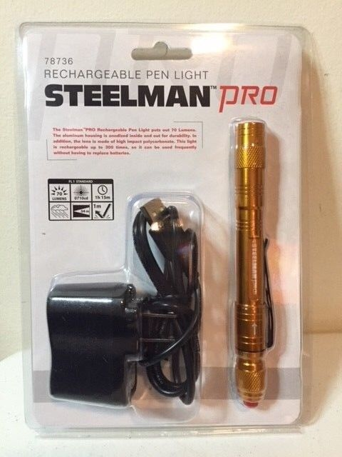 STEELMAN PRO 78736 USB-minne Återladdningsbar LED Pen Light Flashlight Hurricane