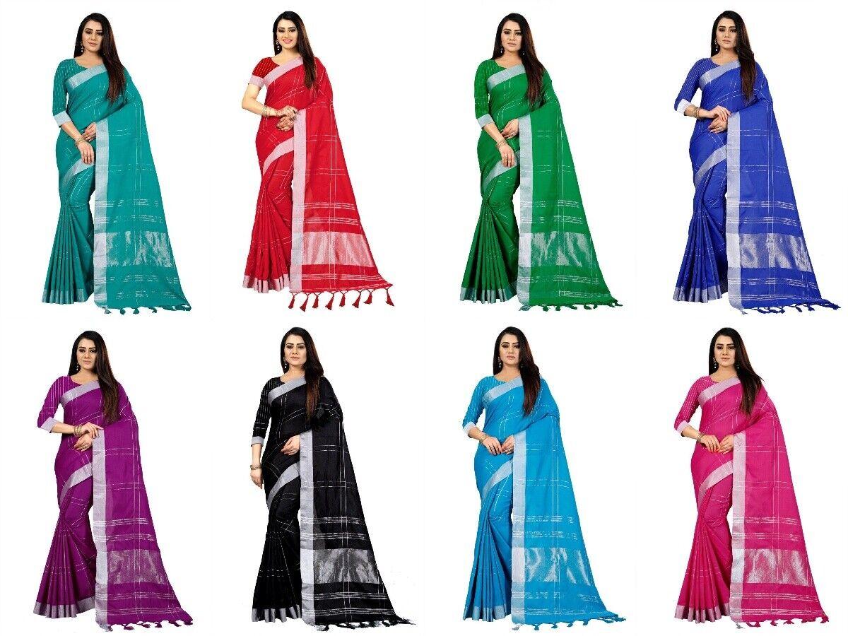 Wedding Cotton Polyester Blend Saree Indian Women Festival Sari Pakistani Dress