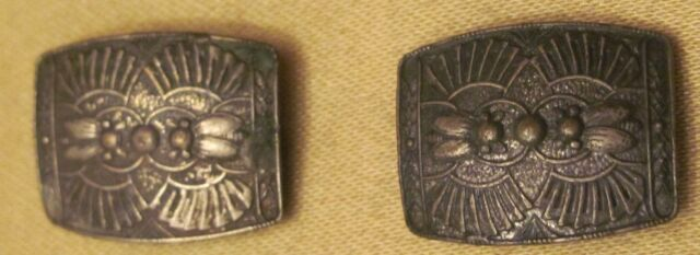 Beautiful Antique Art Deco Shoe Metal Buckles Clasps Decorated with Bees