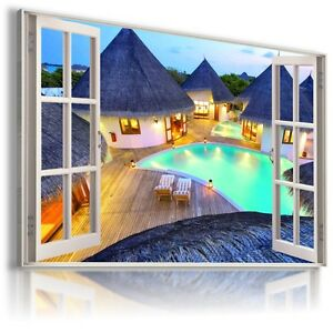 SEA-PARADISE-HOLIDAYS-3D-Window-View-Canvas-Wall-Art-Picture-W21-TEST
