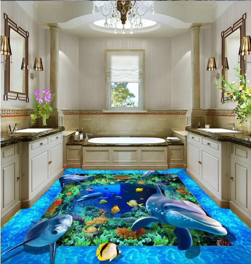 3D Dolphin Marine 854 Floor WallPaper Murals Wall Print 5D AJ WALLPAPER UK Lemon