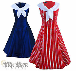 Vintage-1950-039-s-1960s-Swing-Rockabilly-Nautical-Sailor-Evening-Party-Tea-Dress