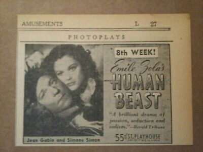 Collectibles Advertising 1940 Human Beast Movie Ad Jean Gabin & Simone Simon
