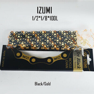 "Izumi Chain JET BLACK Easy Running 1//8/"" BMX Track Fixed Bike Gold Silver Black"