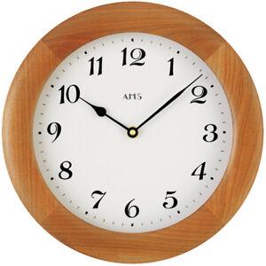 Details zu AMS Wanduhr Holz Mineralglas braun weiß rund 28 cm Ø Büro  Ess.-Wohnzimmer neu