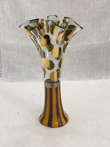 Mackenzie Childs Circus Gold Dot Vase