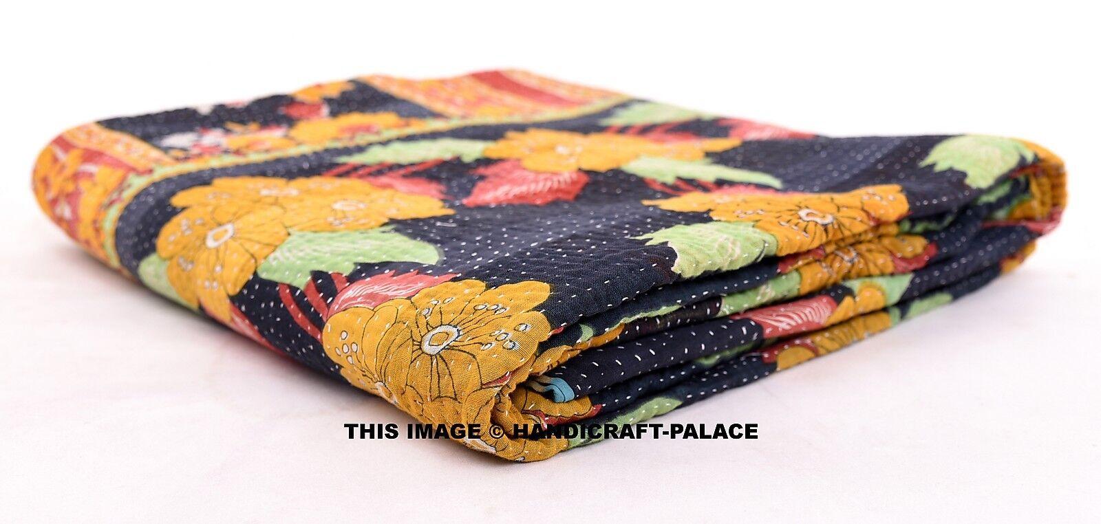 Vintage Embroiderot Twin Kantha Kantha Kantha Quilt Patchwork Cotton Blanket Bedspread Decor cc60fa