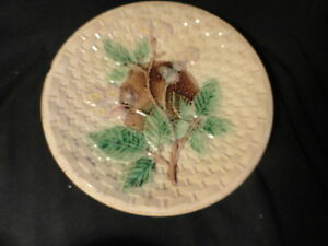 Majolica-Pottery-Blackberry-amp-Basketweave-Plate-10-25-inches