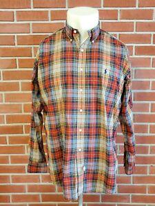 Ralph-Lauren-Long-Sleeve-Button-Down-Plaid-Shirt-Mens-Large-Cotton-Pony-Logo-EUC