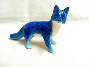 Miniature-Ceramic-Fox-Figurine-Statue-Home-Decor-Pottery-Animal-Blue-Dollhouse