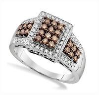 Stunning 100% 10k White Gold Genuine Chocolate Brown & White Diamond Ring .65ct