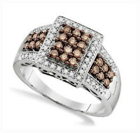 Stunning 100% 10k White Gold Genuine Chocolate Brown & White Diamond Ring .65ct