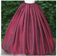 "Ladies Victorian American Civil War skirt costume fancy dress 180"" hem burgundy"
