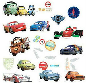 Disney cars 2 wall stickers 26 decals mater mcqueen for Cars 2 wall mural