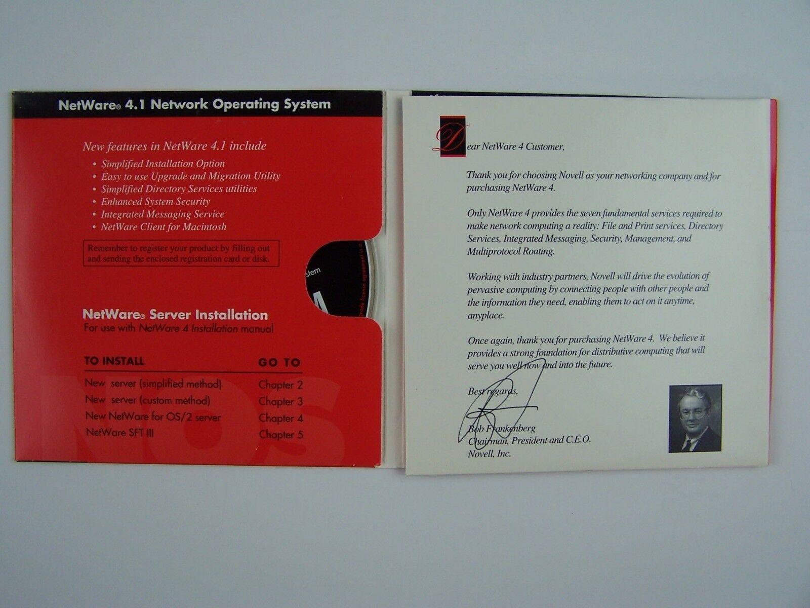 Novell NetWare 4.1 Upgrade CD Disc 720227464859