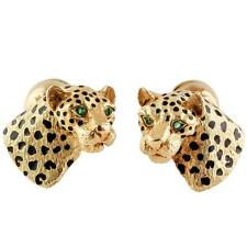 Tiffany & Co. Black Enamel Emerald 18K Gold Leopard Cufflinks