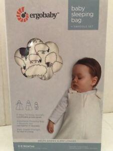 Ergobaby-Baby-Sleeping-Bag-amp-Swaddle-Set-Sheep-Pattern-0-9-months-Adjustable