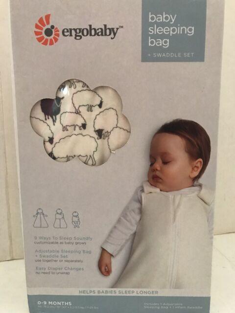 Ergobaby Baby Sleeping Bag   Swaddle Set Sheep Pattern 0-9 Months  Adjustable for sale online