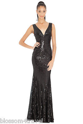 Goddess/Goddiva Long Sequin Sweetheart Evening Maxi Dress Prom Party RRP £90